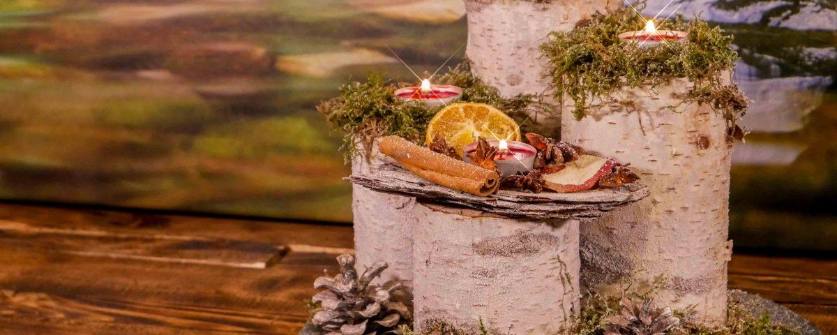 Gesamtansicht des selbst gemachten Adventsgesteck