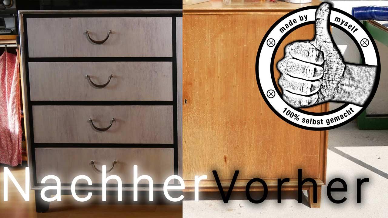 Alte Möbel können ganz einfach mit Kalkfarbe im Shabby Shic Style lackiert werden - hier das fertige Upcycling Ergebnis