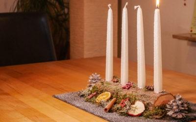Adventsgesteck selber machen, länglich